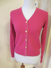 BROOKS BROTHERS hot pink Long Sleeve V-Neck Cardigan Sweater Sz S M L NWT