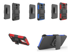 For Metro Pcs LG Aristo 2 Hybrid Kickstand Hard Soft Cover Case With Belt Clip