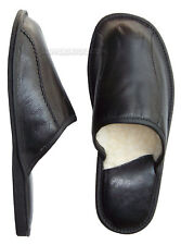 Black Mens Leather Slippers Lambswool Shoes Wool Sheepskin size 8 8.5 9 10 11 12