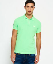 New Mens Superdry Vintage Destroyed Pique Polo Shirt Lime Green