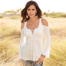 Women Blouses Tops T-shirt Shoulder Lace Deep V-Neck Tops Tight Slim Strapless
