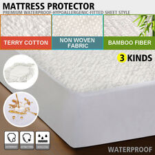 Mattress Protector Waterproof Fitted Sheet Cover Bamboo NON-WOVEN Terry Cotton