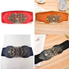 Stretch Adjustable Wide  Buckle Elastic Waistband Waist Belt New Women's I0179