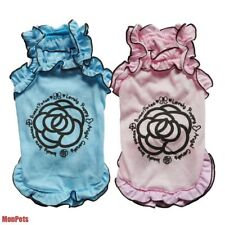 Pink/ Blue Rose Ruffle Pet Dog Dress Cotton Shirt Skirt Pet Apparel Dog Clothes