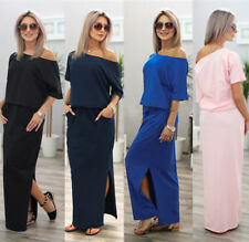 AU Womens One Shoulder Split Long Maxi Dresses Ladies Summer Party Beach Dress