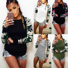 AU Womens Camouflage Long Sleeve Tops T Shirt Casual Ladies Oversized Blouse Top