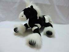 "Animal Alley Horse Pony Plush Stuffed Toy Soft 13"" Black White Cute"