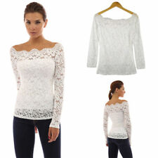 Top Blouse Cold Off Shoulder Long Sleeve Lace Solid Shirt Womens