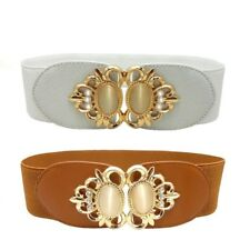Women Belt Fashion Wide Elastic Leather Waist Stylish Metal Buckle Knitted Metal