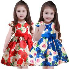MagiDeal Fashion Flower Girl Bow Rose Floral Dress Wedding Bridesmaid Prom Party