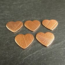 5 Copper Heart Blanks with Leaf Vein Texture Choice of 2 Sizes Jewellery Making