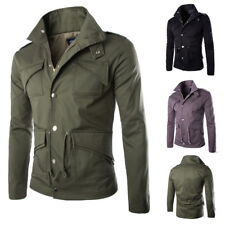 Mens Pockets Baseball Jacket Coat Tops Warm Winter Long Sleeve Zipper Outwear
