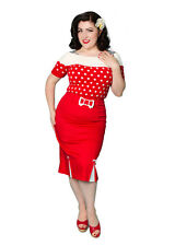 NEW Rockabilly 50s Wiggle Skirt Vintage Miss Fortune Red Pencil Skirt- XS-XL