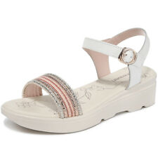 Girls Womens Leather Ankle Strap Open Toe Sandals Platform Wedge Heel Shoes