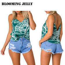 BLOOMING JELLY Women Sleeveless Tank Tops Stretch Vest Cami Sexy Backless Tshirt