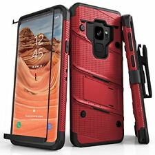 Galaxy S9 Hybrid Heavy Duty Armor Case Tempered Glass Cover Military Graded Red