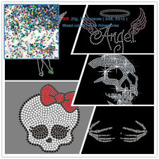 2pcs Skull Hand Angel Wing Rhinestone Transfer Hotfix Iron On Hot Fix Motif