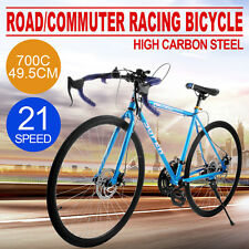 700C Road Commuter Bike Racing Bicycle 21 Speed Urban Cycling Road Bike Blue