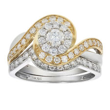 1 CT Diamond Wedding Engagement Ring Set 14K Two Tone Gold