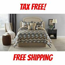Taupe Comforter Set Luxury Bedding King Full/Queen Size Striped Bedding 7pcs NEW
