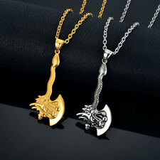 Mens Pendant Necklace Gold Color Stainless Steel Chain Zodiac Dragon Axe Charm