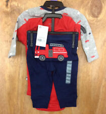 Carters 3 Piece Boy's Fire Truck Outfit Pajama Wear size 3 Months