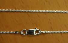 1.4mm Solid .925 Sterling Silver Diamond Cut Rope Chain Necklace Made in Italy