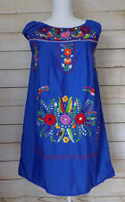 Womens Mexican Dress Blue Floral Embroidered Peasant Mini Wedding Bridesmaid