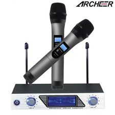ARCHEER VHF Wireless Microphone System + Dual Channel Handheld Mic For Home KTV