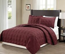 Fancy Linen 3pc Oversize Target Quilted Embroidery Solid Burgundy Bedspread New