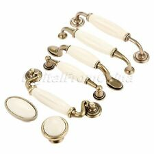 Antique White Ceramic Door Handles Furniture Kitchen Drawer Pulls Cabinet Knobs