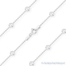 4.1mm Moon Cut & Ball Bead Link Italy 925 Sterling Silver Rhodium Chain Necklace