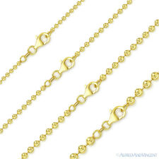 Italy .925 Sterling Silver 14k Yellow Gold Ball Bead Link Chain Italian Necklace