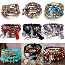 Fashion Leather Bead Multiple Layers Charm Bracelet Bangle Women Men Jewelry