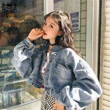 Rocksir 2018 Batwing Short Denim Jacket Women Harajuku Vintage Loose Jeans Coat