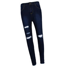 Women's Plus Size Stretch Distressed Ripped Blue Skinny Denim Jeans Pants