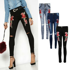 Womens High Waisted Denim Vintage Skinny Ripped Rose Embroidered Jeans Pants