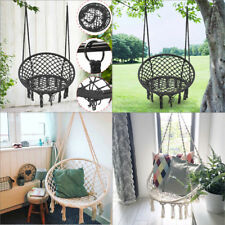 Black/Beige Hanging Cotton Rope Macrame Hammock Chair Swing Outdoor Home Garden