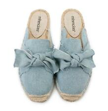 New Womens Casual Slip On Bow Flat Canvas Espadrilles Mules Loafer Slipper Shoes