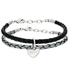 QVC Steel by Design Stainless Steel Set of 2 Leather Heart Charm Bracelets $99