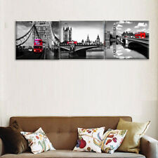 Canvas Art Poster Print Painting Home Decor 3 Panel Black White London Bridge