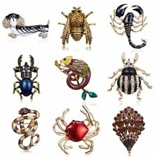Vintage Summer Animal Dog Crab Bee Bugs Brooches Women Beetle Brooch Pin Jewelry