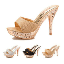 2018 Fashion Women Platform Peep Toe Shoes High Heel Sparkly Sandals Mules Party