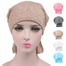 Women's Chemo Hat Cotton Ruffle Head Wrap Cap Turban Headwear for Cancer