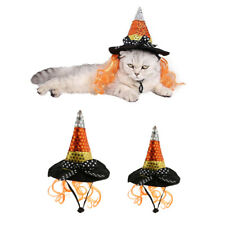 Halloween Cat Witch Hat Pet Wizard Headwear for Cat Small Dog Party Costume