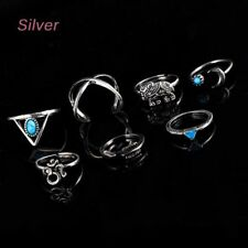Finger Natural Hot Plated 7 PCS/Set Alloy Elephant Rings Vintage Turquoise
