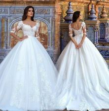 White/Ivory Lace Wedding Dresses Sweetheart Neck Half Sleeve Bride Gowns Dresses