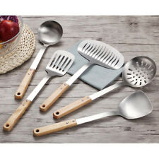 Wood Handle Stainless Steel Kitchen Cooking Frying Spatula Turner Soup Spoon