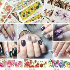 12/48x Cake Flower Nail Art Sticker Plant Water Transfer Decal Manicure Tips Kit