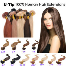 NEW 50g/100s 8A Remy Hair Pre-Bonded Nail U Tip Human Hair Extensions 18-22inch